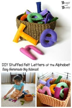 DIY Stuffed Felt Toy Letters of the Alphabet: Easy sewing tutorial for homemade ABCs. Great hands-on learning toy for name practice, letter sounds, letter recognition and other literacy activities. Makes a special keepsake and homemade gift. #buggyandbuddy #abcs #alphabet #diy #diytoy #felt #sewingtutorial #easysewing #reading #ece #preschool #toddler #play #handsonlearning Sewing Projects For Beginners, Sewing Tutorials, Tutorial Sewing, Felt Tutorial, Sewing Hacks, Diy Tutorial, Diy Projects, Toddler Gifts, Toddler Toys