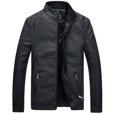 Motorcycle Style Inside Thicken Fleece PU Leather Jacket Casual Slim... ($39) ❤ liked on Polyvore featuring men's fashion, men's clothing, men's outerwear, men's jackets, men, mens slim fit jacket, mens motorcycle jacket, mens short sleeve jacket and mens zip jacket