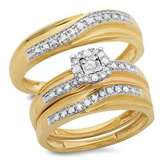Introducing 033 Carat ctw 10K Yellow Gold Round White Diamond Men  Womens Engagement Ring Trio Set 13 CT. Get Your Ladies Products Here and follow us for more updates!