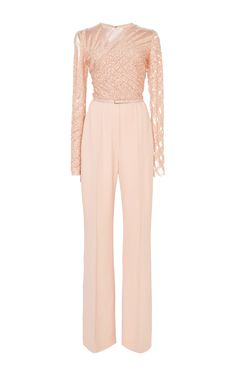 Bead Embroidery and Cady Jumpsuit by Elie Saab for Preorder on Moda Operandi