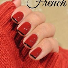 French Nail Art designs are minimal yet stylish Nail designs for short as well as long Nails. Here are the best french manicure ideas, which are gorgeous. French Nails, Black French Manicure, Holiday Nails, Christmas Nails, Classy Christmas, Christmas Art, Cute Nails, Pretty Nails, Classy Nails