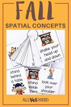 Fall into autumn with this activity! Spatial concept games and activities with a fall theme. Includes concept cards, following directions, and more. #SpatialConcept #Vocabulary #SpeechTherapy #SLP #Vocabulary #FallActivities Speech Therapy Activities, Language Activities, Classroom Activities, Primary Classroom, Classroom Ideas, Speech Language Pathology, Speech And Language, Language Arts, Autumn Activities