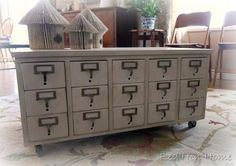 Repurpose Card Catalog side table in to this: add new top, back and wheels