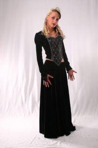 Gothic Long Velvet Skirt. Gothic Velvet Full Length Skirt ~ 5 Colours available. By Bares~86-1088~