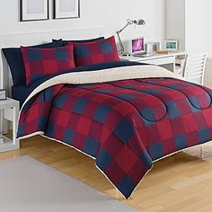 Izod® Buffalo Plaid Reversible Twin Comforter Set in Red