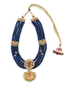 Hello Blue Blue Lapis and Kundan Necklace by Khanakz Stone Jewelry, Pearl Jewelry, Antique Jewelry, Gold Jewelry, Beaded Jewelry, Jewelery, Jewelry Necklaces, Indian Wedding Jewelry, Bridal Jewellery