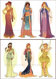 Etsy の Postcards of Art Nouveau Princesses by NeverBirdDesigns (2614)