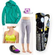 Chartreuse + Black Yoga, created by sassysaks @Polyvore, http://www.sassysaks.com/products/yoga/black-circles.php