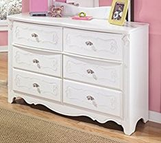 Ashley Furniture Signature Design – Exquisite Dresser – 6 Embossed Drawers – Kids Room – French Styling – White