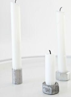 Minimalistisen kaunista: mutterit kynttilänjalkoina!