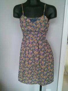 MOSSIMO SUPPLY CO Target Floral Blue Sun Dress Spaghetti Straps Lace S #Mossimo #EmpireWaist #Casual
