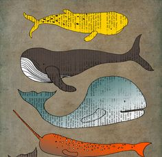 Whales 13x19 poster wall art PRINT decor LIMITED EDITION mixed media drawing painting vintage book page nursery kids children illustration. $60.00, via Etsy.