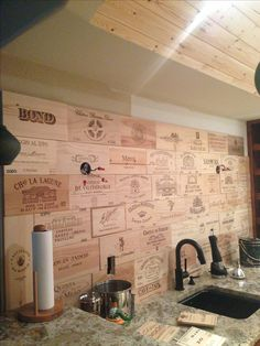 Wine Crate Panel Kitchen Wainscot on Wall