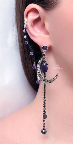 Silver Purple Lilac Night Ear Cuff with Fairy Amethyst Stars and Scroll Moon/ curl open work Moon/ ohr fake faux piercing/ ohrklemme ohrclip AVAILABLE again Silver Night Ear Cuff with Fairy by LotEarCuffs Ear Jewelry, Cute Jewelry, Body Jewelry, Jewelry Accessories, Skull Jewelry, Hippie Jewelry, Jewellery, Cuff Earrings, Cartilage Earrings