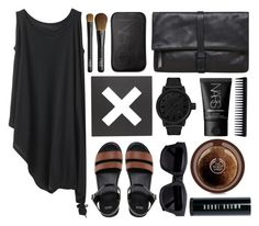 """""""Black and Brown"""" by sophi-sticated ❤ liked on Polyvore featuring Y's by Yohji Yamamoto, ASOS, Urban Outfitters, NARS Cosmetics, Maison Margiela, Tsovet, The Body Shop, GHD, Bobbi Brown Cosmetics and Acne Studios"""