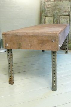 reclaimed wood and metal coffee table.  DIY