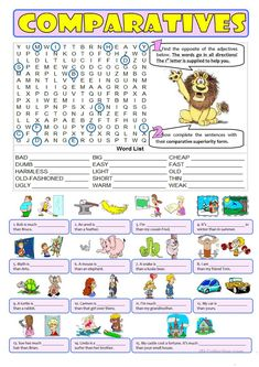 Comparative adjectives worksheet - Free ESL printable worksheets made by teachers Teaching English Grammar, English Grammar Worksheets, Grammar And Vocabulary, Grammar Lessons, English Vocabulary, Grammar Activities, English Activities, English Lessons, Learn English