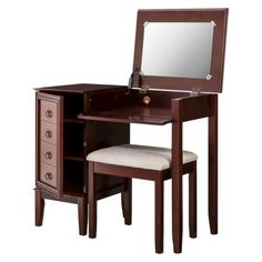 I don't know why but I've always wanted something like this to do my make up every morning. :)   Side Storage Vanity Set - Espresso