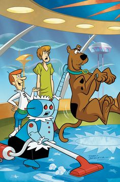 Scooby-Doo Team-Up (Scooby-Doo Team-Up )): With the Space-Age Specter menacing the Jetson family and their friends, Velma finds an unexpected clue that leads to a big change in George Jetson's career! Famous Cartoons, Classic Cartoons, Cartoon Tv Shows, Cartoon Characters, Scooby Doo Images, Scooby Doo Mystery Incorporated, Walt Disney, The Jetsons, Watch Cartoons