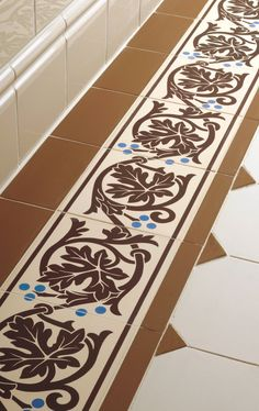 Victorian Floor Tiles - this two-tile Shaftesbury border will add gorgeous detail to any space.