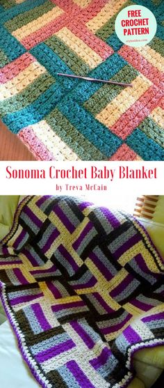 "Sonoma Crochet Baby Blanket - Fantastic baby blanket with measurements cca 29"" (73.5 cm) wide and 38"" (96.5 cm) long with perfect border #crochet #crochetpattern"