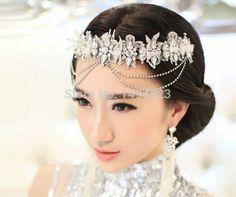 cheap novia simple flores con flecos rhinestone encaje tiaras de la boda la frente accesorios de