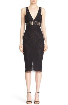 Main Image - Victoria Beckham Lace Kick Midi Dress