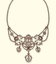 AN ANTIQUE DIAMOND NECKLACE  Designed as a series of openwork floral clusters and collets suspending three pendants to the diamond line backchain, central section detachable, mounted in silver and gold, circa 1890, 35.5 cm. long, in original brown leather fitted case
