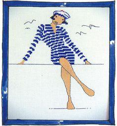 Rue du Port - Broderie à points comptés - Broderie - Femme asise