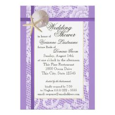 Purple Beach Bridal Shower Custom Invites