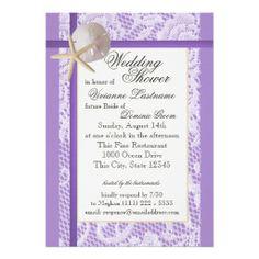 Purple Beach Bridal Shower Custom Invites