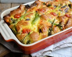 """Tenderstem® """"Eat your Greens"""" Toad in the Hole - a tasty veggie version of the classic Toad in the Hole which is packed with veggies and flavour. Sausage Recipes, Veggie Recipes, Vegetarian Recipes, Cooking Recipes, Midweek Meals, Easy Meals, Cheap Meals, Healthy Dinners, Toad In The Hole"""