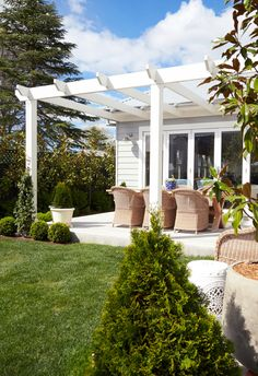 Timber Pergola, White Pergola, Pergola Shade, Pergola Patio, Timber Table, Small Pergola, Hamptons House, The Hamptons, Hamptons Style Homes