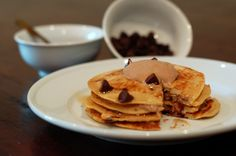 (Healthy) Peanut Butter Frosted Chocolate Chip Pancakes | The Slender Student