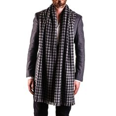 Men's Oversized #Houndstooth #Check #Cashmere #Scarf