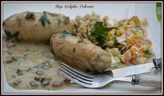 Moje Walijskie Pichcenie ...: GOTOWANE (W FOLII) ROLADKI DROBIOWE Z PIECZARKAMI I SEREM PLEŚNIOWYM Chicken, Meat, Recipes, Food, Recipies, Essen, Meals, Ripped Recipes, Yemek