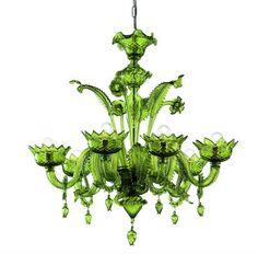 Green glass chandelier