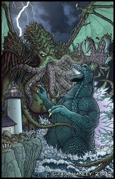 Cthulhu art by Paul Hanley is all kinds of glorious Godzilla vs. My nerdy heart is full of joy over this. My nerdy heart is full of joy over this. All Godzilla Monsters, Sea Monsters, Godzilla Godzilla, Godzilla Comics, King Kong, Necronomicon Lovecraft, Cthulhu Art, Arte Nerd, Classic Monsters