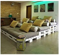 Pallets and Pillows - Theater Room Idea  this is cute....not sure about it with teenagers though