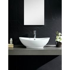 Fine Fixtures Vitreous-China White Vessel Sink with Curving Sides (Vitreous China Vessel Sink) Bathroom Sink Bowls, Bathroom Mirrors, Above Counter Bathroom Sink, Washroom, Bathroom Cabinets, Modern Bathroom, Spa Like Bathroom, White Bathroom, Beautiful Bathrooms