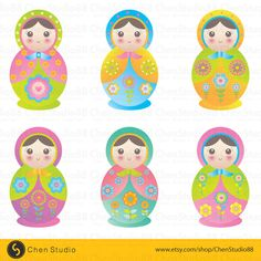 Matryoshka vector - Digital Clipart - Instant Download - EPS, Pdf and PNG files included - FREE Small Commercial Use         April 08, 2015 at 08:32AM