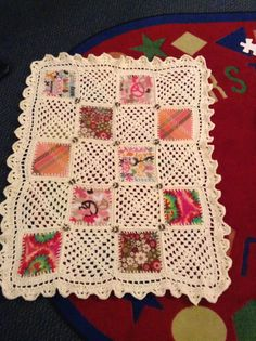 A blanket made from fleece squares and granny squares.  I love how it all came together.  BEAUTIFUL!