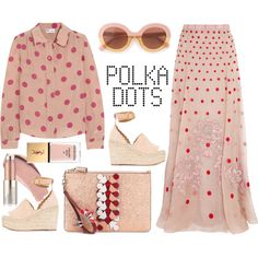 REDValentino Polka-dot silk shirt by thestyleartisan on Polyvore featuring polyvore, fashion, style, RED Valentino, Temperley London, Chloé, Anya Hindmarch, Max&Co., Burberry and Estée Lauder