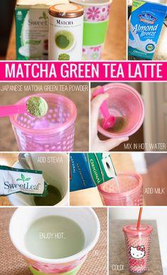 Japanese Matcha Green Tea Latte - Matcha is a powdered green tea from Japan that has more health properties than traditional brewed tea. (One cup of matcha green tea has as many antioxidants as 10 cups of regular tea!) #greentea #weightloss #diet
