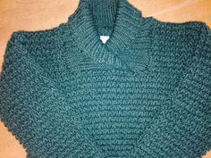Child Knitted Sweater Size 4/5 Wool/Ready to Ship/ Jade-Heather/Shawl Collar - pinned by pin4etsy.com