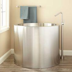 Japanese Soaking Tub in Stainless Steel steps make sense to me