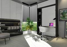 Łóżko chowane w szafie z biurkiem, to idealne rozwiązanie do gabinetu, który po dniu pracy zamienia się w sypialnię. Bed Wall, Murphy Bed, Armoire, Desk, Furniture, Home Decor, Clothes Stand, Foldable Bed, Desktop