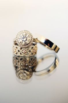 Gold Wedding Set- Round Solitaire Engagement Ring with Filigree Wedding Band