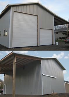 Garage plans 58 garage plans and free diy building guides shed 24 x 36 x 16 residential pole building with a lean too solutioingenieria Images