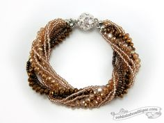 Brown Multi strand Crystal bracelet brown by OohlalaBeadtique